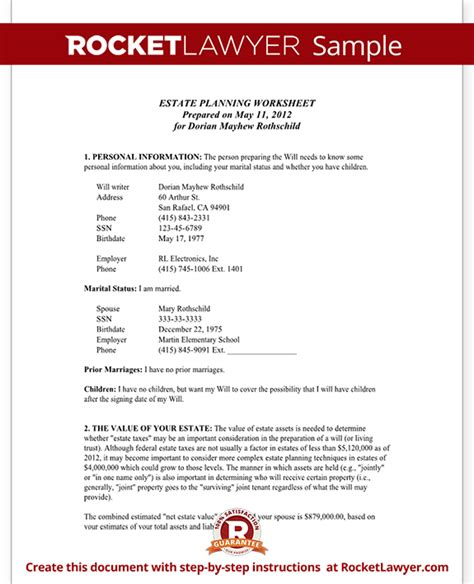 Estate Planning Worksheet Married Estate Planning Templates