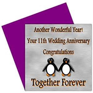 on your 11th wedding anniversary card 11 years steel anniversary rosie posie penguin