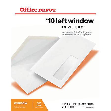 Office Depot Brand Window Envelopes Window On Bottom Left Office Depot Envelope Templates