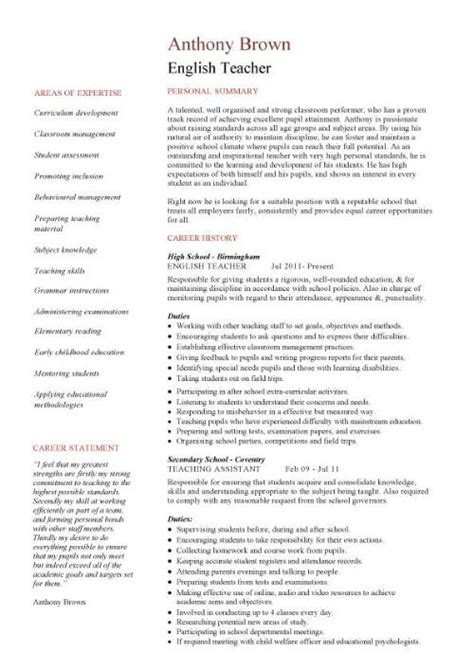 resume template cv exles teaching