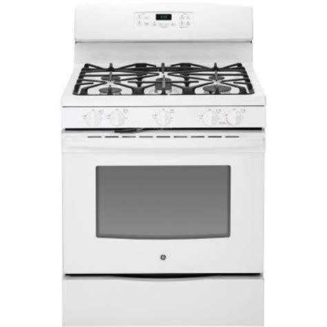 ge 5 0 cu ft gas range with self cleaning oven in white