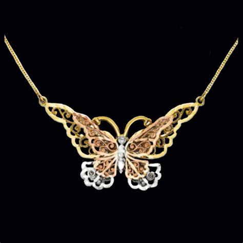 Tri Color Butterfly Necklace