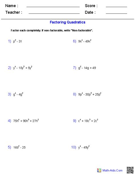 Factoring Special Cases Worksheet algebra 1 worksheets monomials and polynomials worksheets