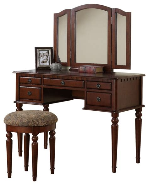 Folding Vanity Table Tri Folding Mirror Make Up Table Vanity Set Wood W Stool 5 Drawers Cherry Traditional