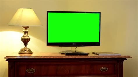 green tv tv television green screen luxury room stock footage