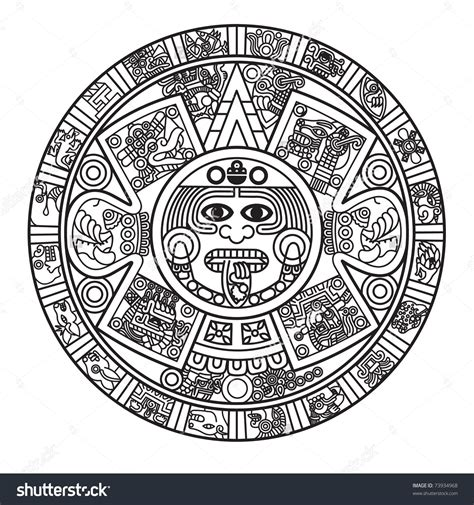 mayan calendar tattoo designs stylized aztec calendar raster version stock photo