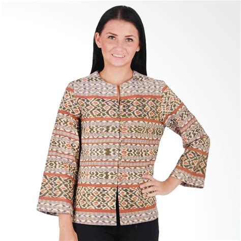 Supplier Baju Deeja Batik Coklat Dress Hq blouse batik tenun chevron blouse