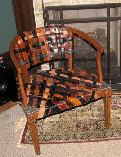 repurposed swanky leather belt chair by askygreen on etsy