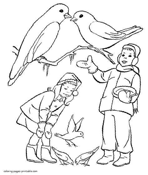 feeding ducks coloring page children feeding the birds in winter