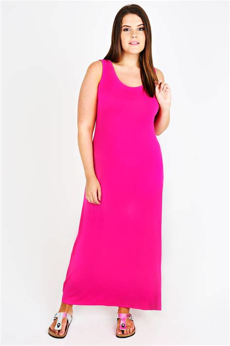 Pink Plain Dress cerise pink plain sleeveless maxi dress plus size 14 to 36