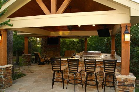 free standing covered patio freestanding patio cover with kitchen fireplace in the