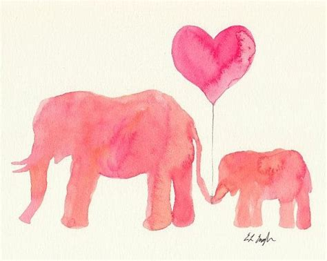 original watercolor and baby elephant nursery painting 8x10 pink coral balloon