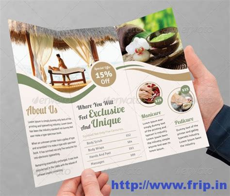 free spa brochure templates 50 best spa fitness hair salon brochure template frip in