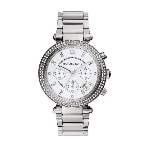 michael kors stainless steel sawyer in silver save