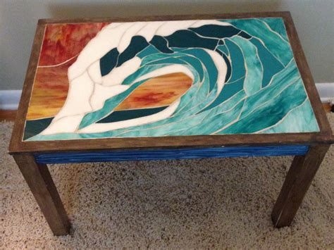 Stained Glass Coffee Table Wave Stained Glass Mosaic Coffee Table Surf By Kingcrabsurfart