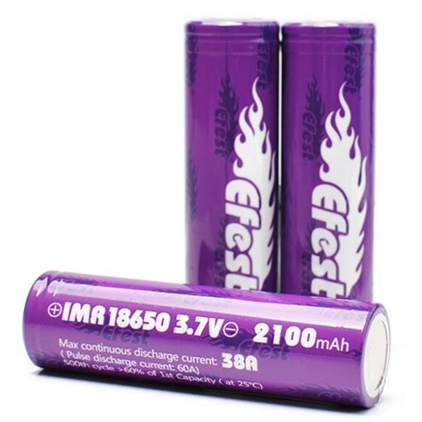 Efest Purple Imr 18650 Li Mn Battery 3 7v 30a efest purple imr 18650 li mn battery 2100mah 3 7v 38a with flat top purple jakartanotebook