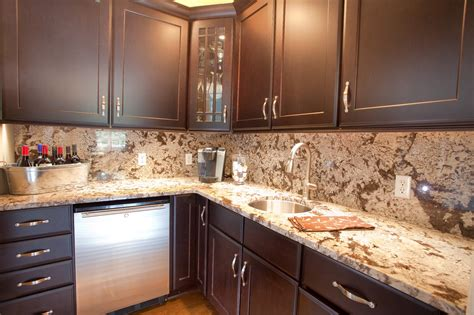 kitchen ideas with brown cabinets backsplash ideas for kitchens with granite countertops and