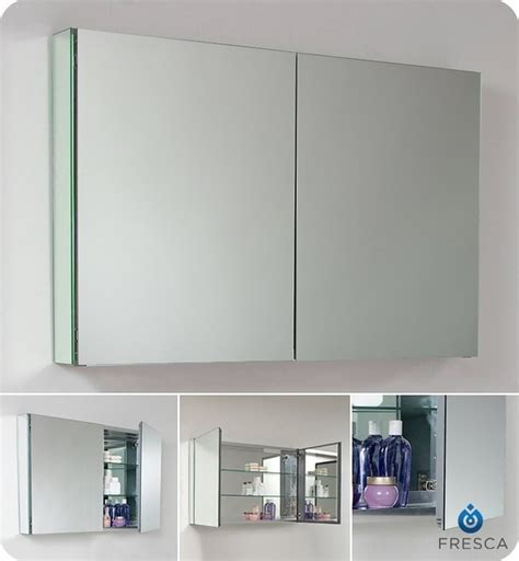 mirror cabinets for bathrooms fresca 40 quot wide bathroom medicine cabinet w mirrors