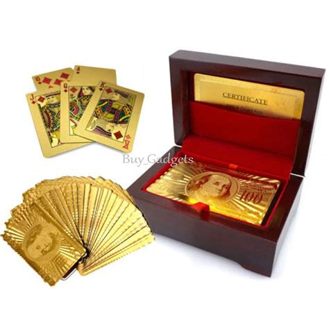 Plated Gift Card - 24k gold plated playing cards full poker deck 99 9 pure with box christmas gift ebay