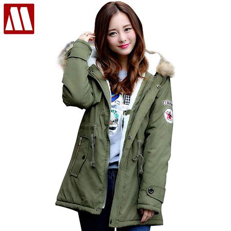 Outer Parka Army winter casual canada womens fur collar coat army green outwear coats jacket ropa