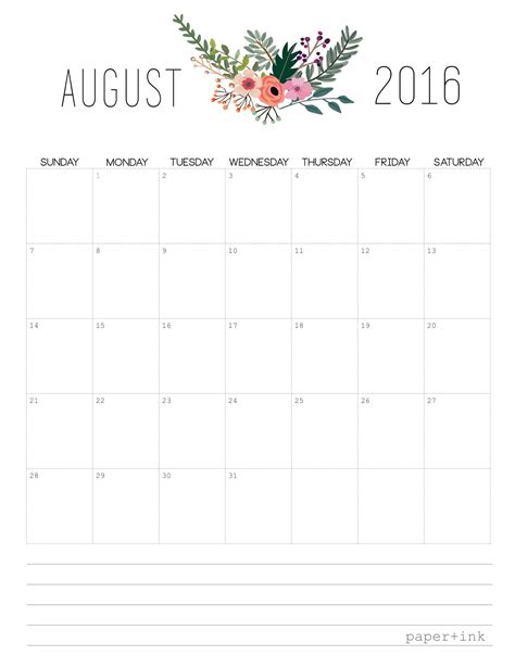 printable calendar august free printable august 2016 calendar
