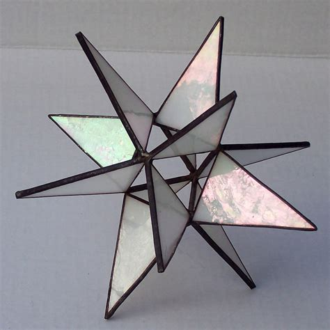 stained glass tree topper iridescent white glass moravian
