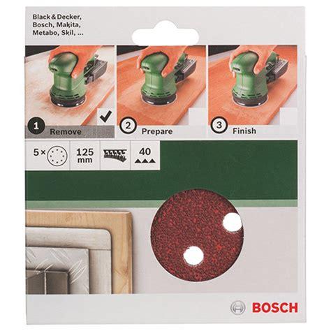 Bosch Velcro Disc bosch 5 pce sanding disc velcro 125mm 40gr with holes