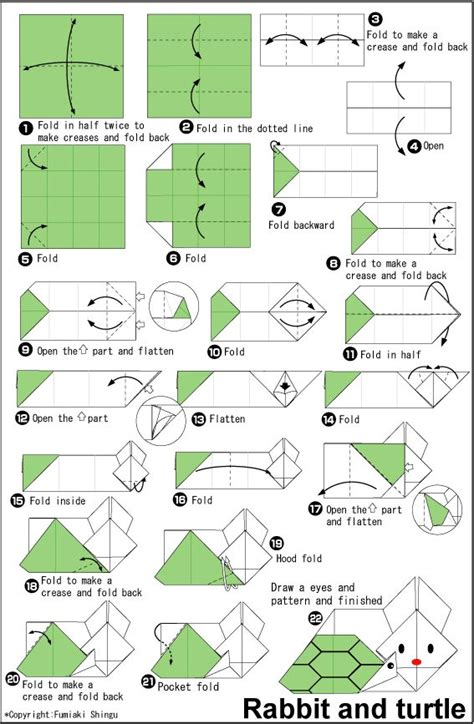 Origami Turtle Diagram - origami rabbit and turtle easy origami for