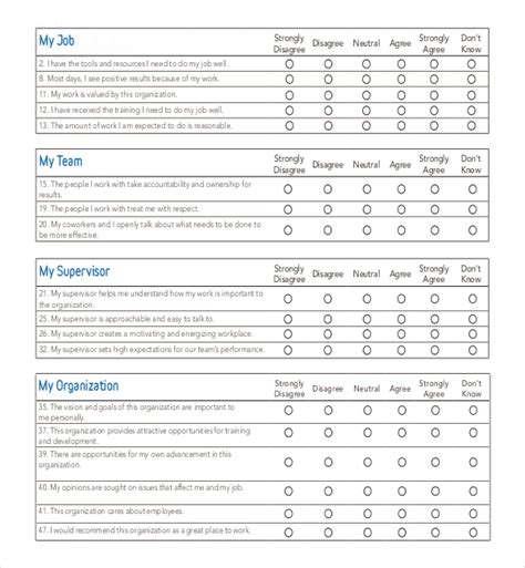 free employee satisfaction survey template 18 employee survey templates free sle exle