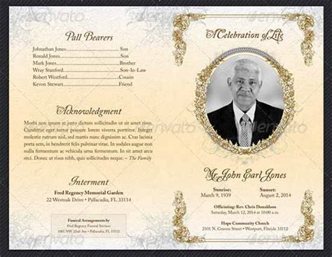 free template funeral program funeral program template 30 free documents in