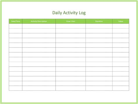 daily activity log template daily log of work performed calendar template 2016