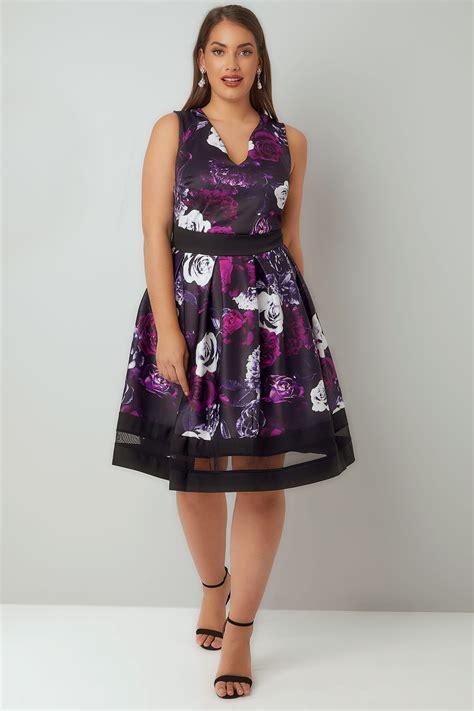 Dress Scuba 277 purple black floral print scuba skater dress plus size