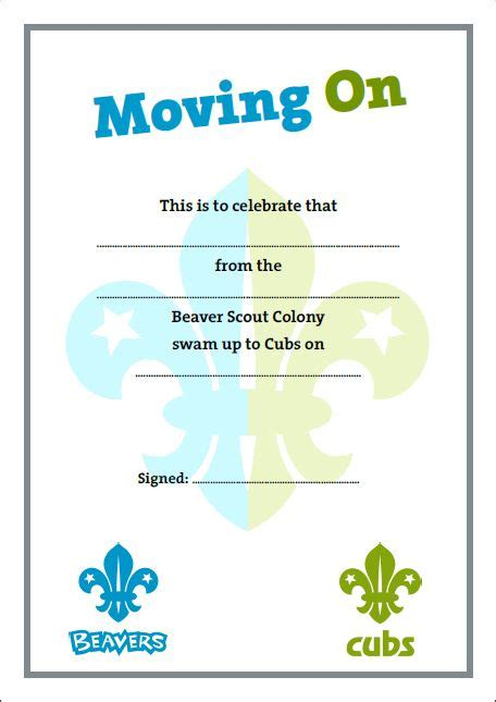 cub scout certificate templates 18 best beaver scouts certificates images on