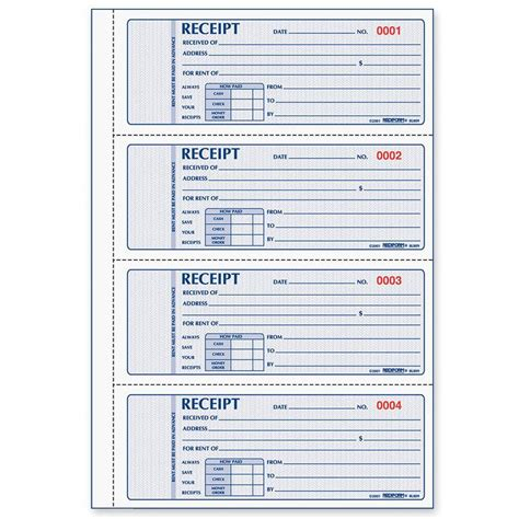 rediform 3 pt carbonless rent receipt book