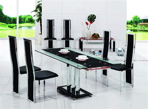 Glass Dining Sets 6 Chairs Pavia Extending Glass Chrome Dining Room Table 6 Chairs Set Furniture 601 816 Ebay