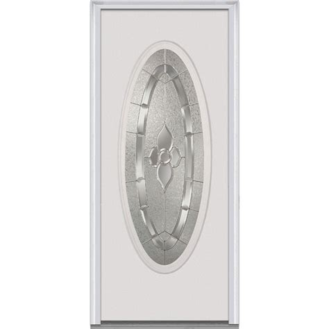 Oval Glass Doors Mmi Door 30 In X 80 In Master Nouveau Left Large Oval Primed Steel Prehung Front Door