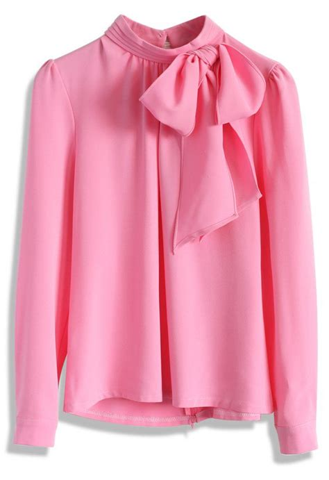Blouse Top Pink 5237 best bow images on bow blouse satin