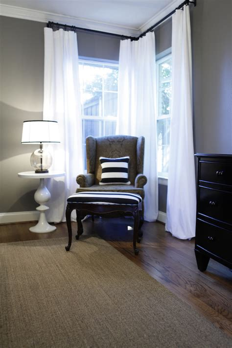 curtains for dark grey walls love the gray combo with the white and blue and the floors