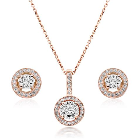 silver gold plated cubic zirconia pendant and stud