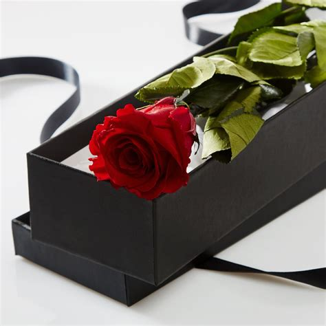 Box A Single Preserved Flower Represent Charm Perfection single in a silk lined gift box petals roses
