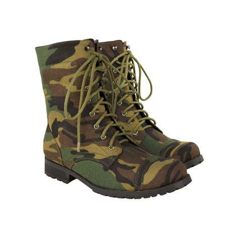 camo boots womens camouflage army combat ankle boots lace up