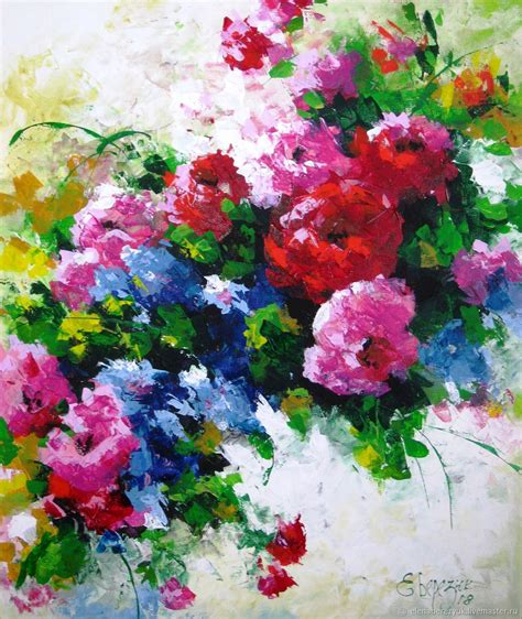Painting Palette palette knife painting on canvas flower painting