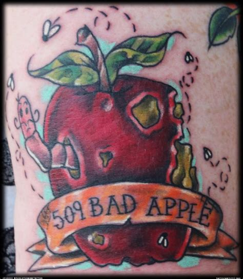 bad apple tattoo 45 best rotten apple tattoos back images on