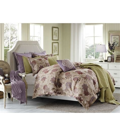 mauve purple green floral comforter set king