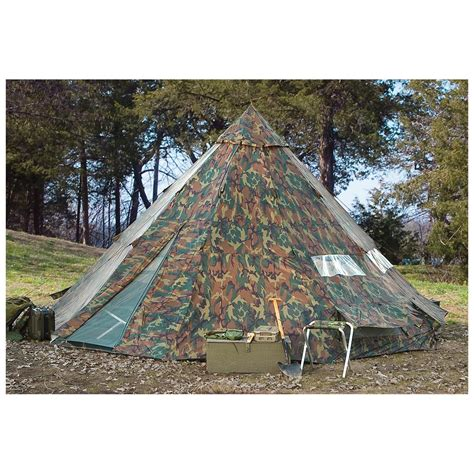 backyard teepee tent hq issue 10 x 10 teepee tent woodland camo 234573 outfitter canvas tents at