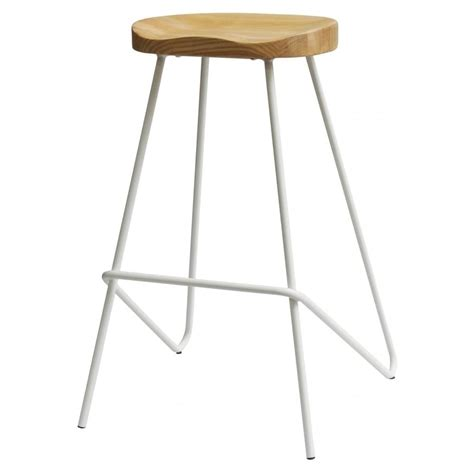 metal bar stool with wooden seat buy white industrial metal bar stool with wood seat from