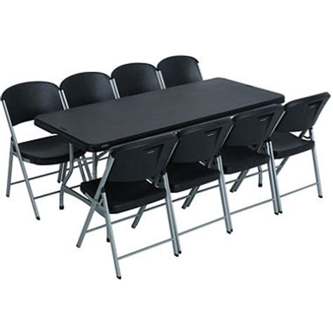 Free Folding Tables And Chairs lifetime combo one 6 commercial grade folding table and 8 folding chairs black sam s club