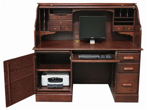 solid oak computer desk 60 quot w solid oak rolltop computer desk in cherry finish in