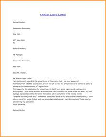 Business Letter Vacation Leave 6 Sample Of Vacation Leave Letter Parts Of Resume