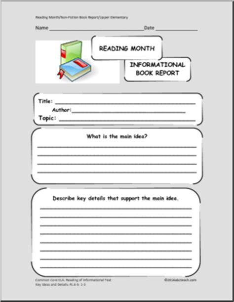 informational book report book report forms reading month informational text